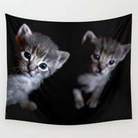 kittens Wall Tapestries featuring Brother kittens  by Chico Sanchez