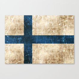 Vintage Aged and Scratched Finnish Flag Canvas Print