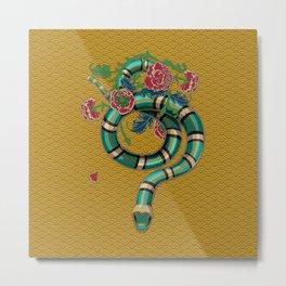 Snake Peonies Metal Print