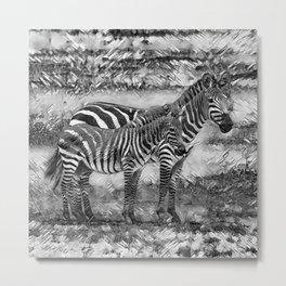 AnimalArtBW_Zebra_20170716_by_JAMColorsSpecial Metal Print