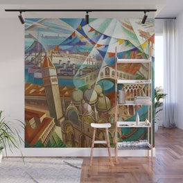 The Carnival of Venice landscape painting by Gerardo Dottori Wall Mural