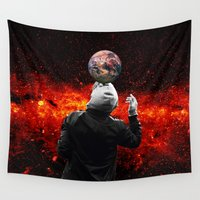 football Wall Tapestries featuring Football by Cs025