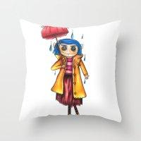 coraline Throw Pillows featuring Coraline Doll by Garrett Kenneth Roach