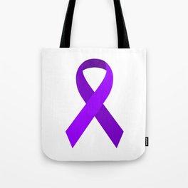Purple Awareness Support Ribbon Tote Bag