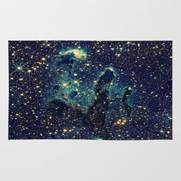 Pillars of Creation GalaxY  Teal Blue & Gold Rug