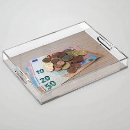 Euro Coins and Bills Acrylic Tray