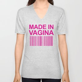 MADE IN VAGINA BABY FUNNY BARCODE (Baby Girl Pink) Unisex V-Neck