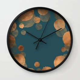 Metal Copper Dots on Emerald Wall Clock