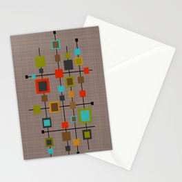 Mid-Century Modern Squares Pattern Stationery Cards