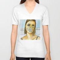 tenenbaum V-neck T-shirts featuring Margot Tenenbaum. by Piltrafadas Ilustracion