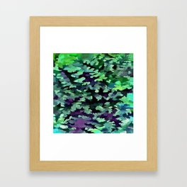 Foliage Abstract Pop Art In Jade Green and Purple Framed Art Print