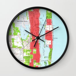 Vintage West Palm Beach & Palm Beach FL Map (1946) Wall Clock
