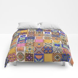 Hand Drawn Floral Patchwork Comforters