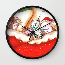 Snuggled in for Xmas Eve Wall Clock
