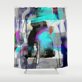 The river laughs of wet pines, this spring, sound tumult of water. (Haiku series n.2) Shower Curtain