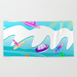 Aliens Go Surfing Beach Towel