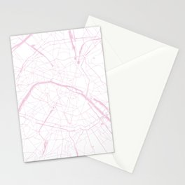 Paris France Minimal Street Map - Pretty Pink and White Stationery Cards