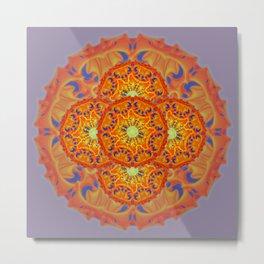 Bee Bloom Round Mandala Style Two Metal Print