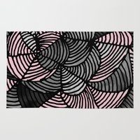 gray pattern Area & Throw Rugs featuring Abstract Pattern - Gray & Pink by Georgiana Paraschiv