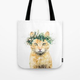 Boho Watercolor Cat, Cat Lady, Plant Lady, Funny cute Cat, home decor, nursery animal wall art Tote Bag