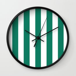 Deep green-cyan turquoise - solid color - white vertical lines pattern Wall Clock