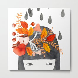 Autumn girl botanical watercolor illustration Metal Print