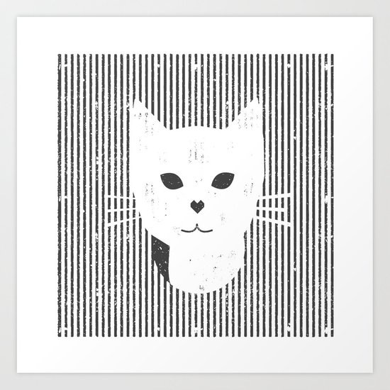 Stripe Kitty Art Print