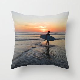 A Day of Surfing Done Throw Pillow