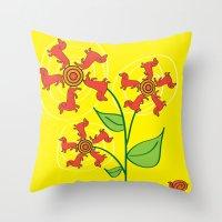 daschund Throw Pillows featuring Doxie Flower by WhyitsmeDesign