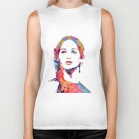katniss Biker Tanks featuring Katniss by lauramaahs