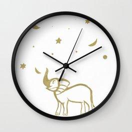 Elephant Fun #1 #gold #drawing #decor #art #society6 Wall Clock