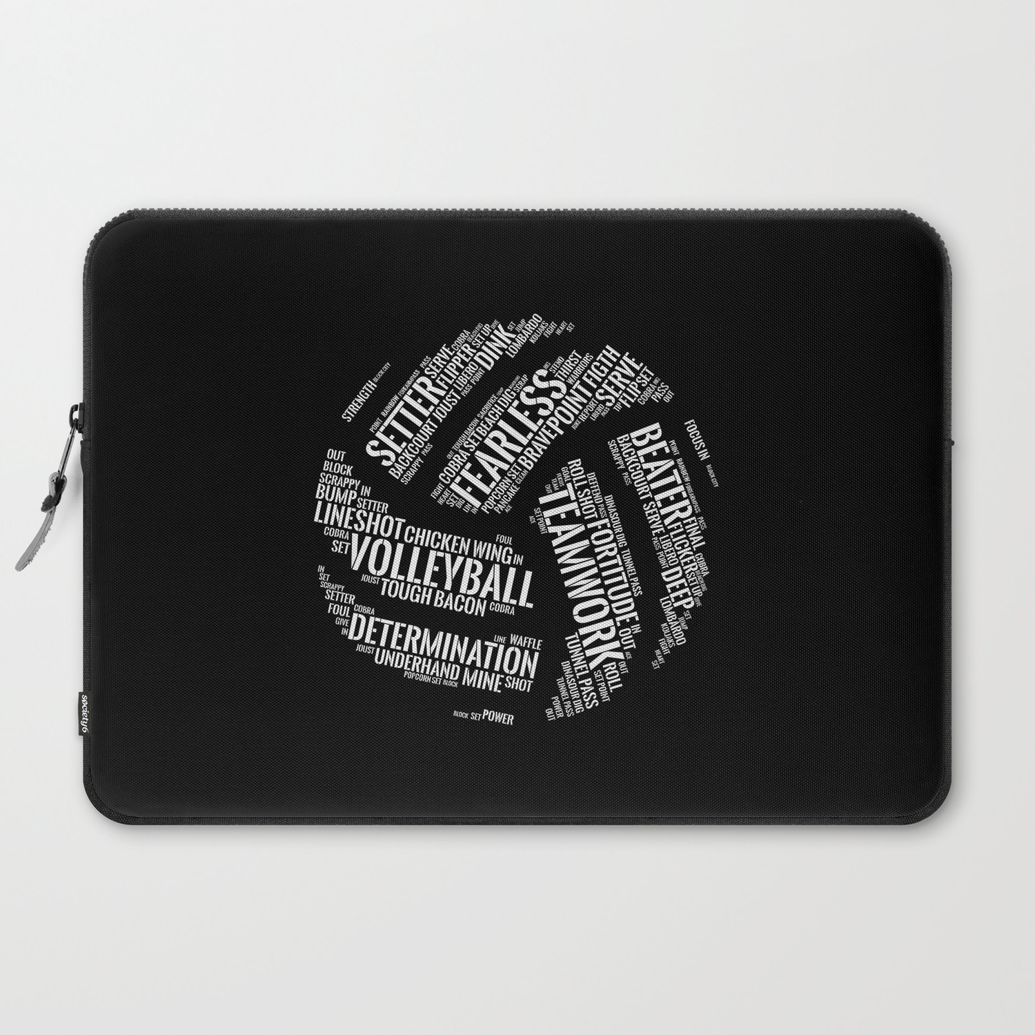 White Volleyball Wordcloud - Gift Laptop Sleeve