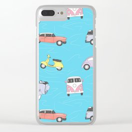 Vintage cars and vespa Clear iPhone Case
