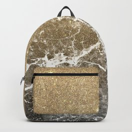 Vintage black white gold glitter marble Backpack