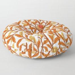 Art Nouveau Bird and Pomegranate, Mandarin Orange and Gold Floor Pillow