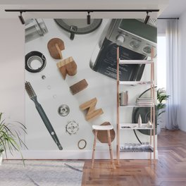 Grind # 2 // Exploded View Espresso Coffee Grinder Wood Block Typography Lettering Photograph Wall Mural
