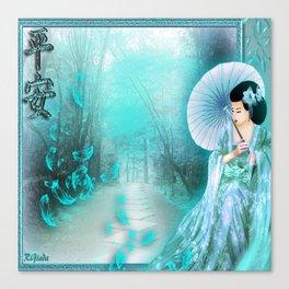 Geisha In Teal Canvas Print