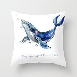 Whale Artowrk, Humpback Whale Throw Pillow