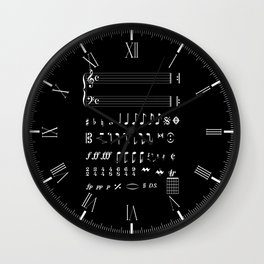 Musical Notation Negative Wall Clock