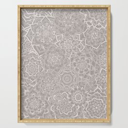 Delicate Lace Mandala Pattern (Grey/Cream) Serving Tray