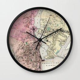Vintage Map of Bridgeport CT (1867) Wall Clock