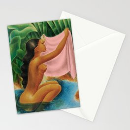 Bather Holding Up Her Kemban by Miguel Covarrubias Stationery Cards