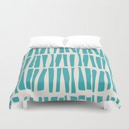 Aqua Teal Turquoise Solid Color Vertical Dash Stripe Line Pattern on Alabaster White - Aquarium SW 6767 Duvet Cover