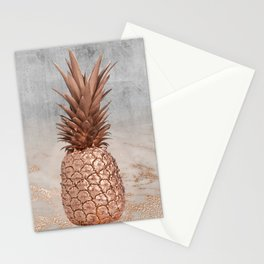 Pineapple in Glitter Marble Rose Gold And Concrete Stationery Cards