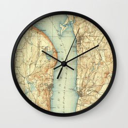 Vintage Map of Tarrytown NY & The Hudson River Wall Clock