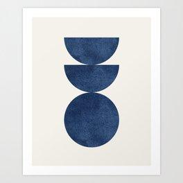 Woodblock navy blue Mid century modern Art Print