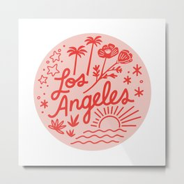 Los Angeles Poppy Sun in Pink Metal Print