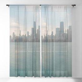 Tonight -Chicago Skyline Photography Sheer Curtain