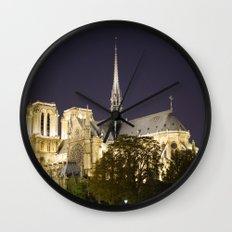Notre Dame at Night Wall Clock