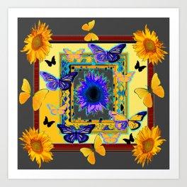ORNATE BUTTERFLIES SUNFLOWERS GREY MONTAGE Art Print